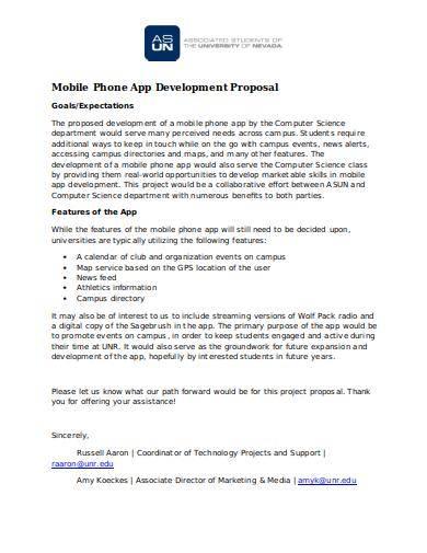 sample mobile phone app development proposal