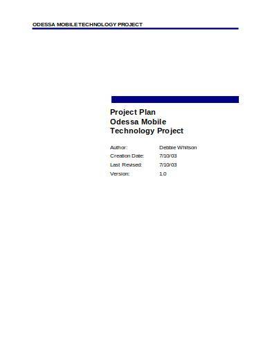 sample mobile technology project management plan