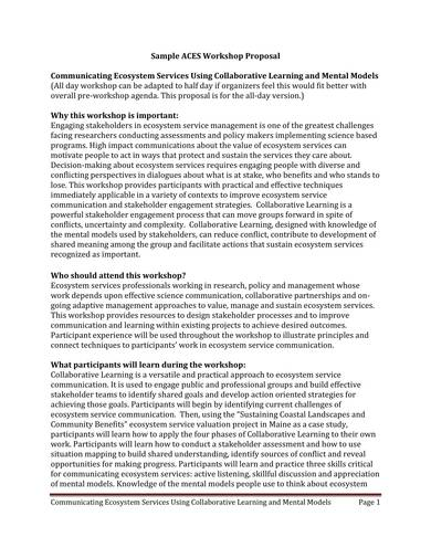sample research workshop proposal