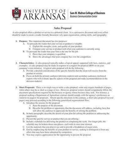 sample sales proposal outline