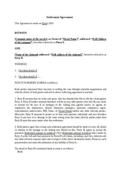 Free 9 Settlement Agreements In Pdf Word