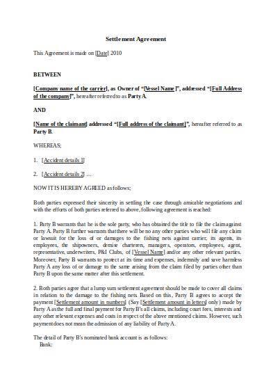 sample settlement agreement template