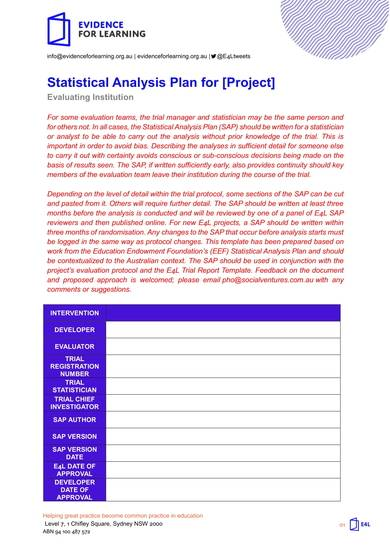 sample statistical analysis plan for project
