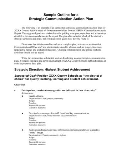 sample strategic communication action plan outline