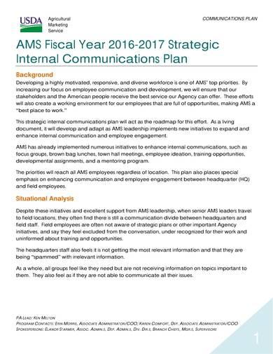 sample strategic internal communications plan