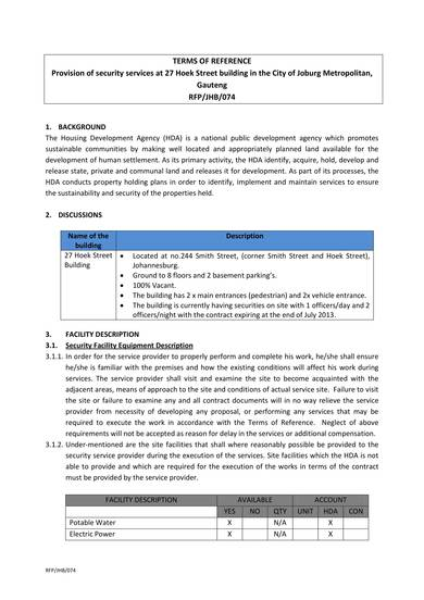 security services and protection of services rfp sample 2