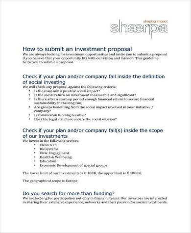 small business investment proposal guidelines 1