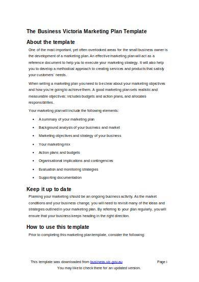 small business marketing plan template