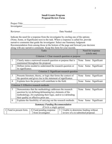 small grants proposal samples
