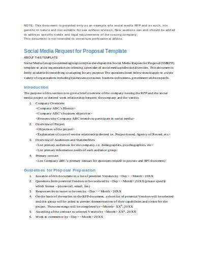 social media request for proposal template