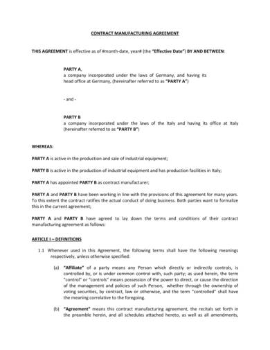 standard contract manufacturing agreement sample