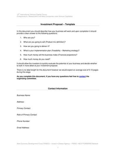 standard investor proposal template 1