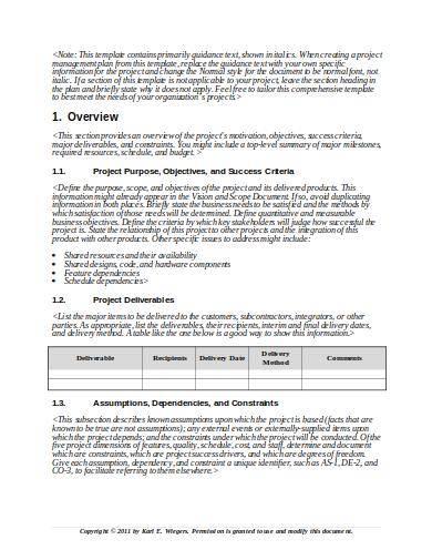 standard project management plan template