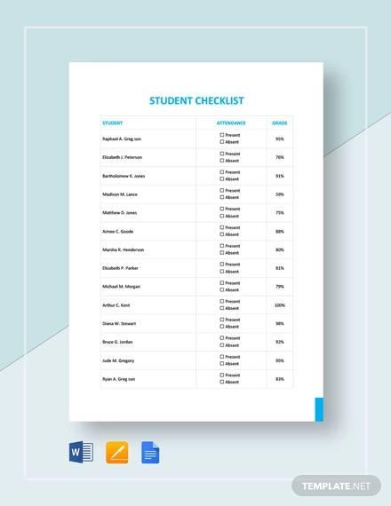 student checklist template