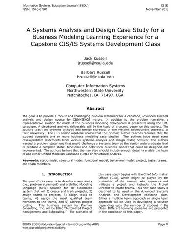 systems analysis and design case study