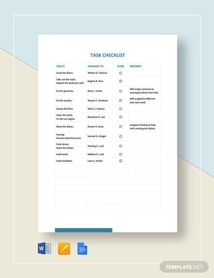 task checklist template