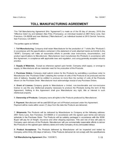 toll manufacturing agreement sample