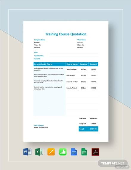 training course quotation template