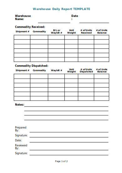 warehouse daily report template