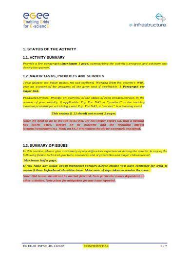 activity quarterly report template