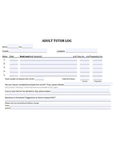 adult tutor log