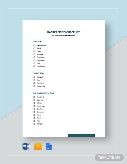 backpacking checklist template