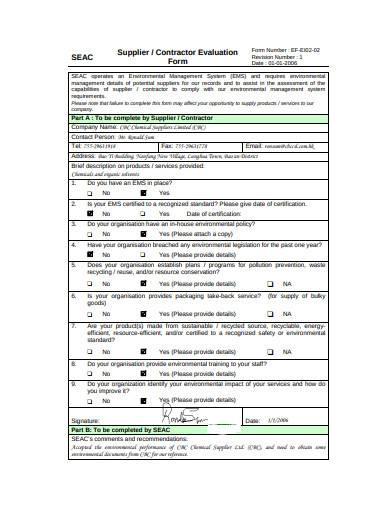 basic contractor evaluation form sample