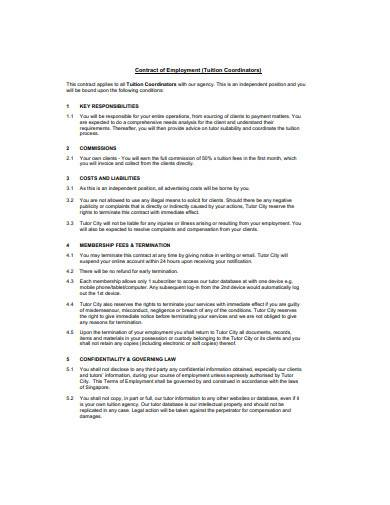 basic tutor employment contract sample