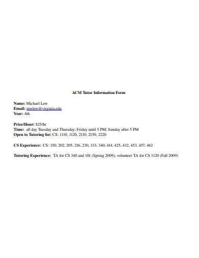 basic tutor information form
