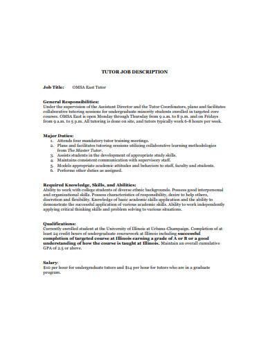 basic tutor job description template