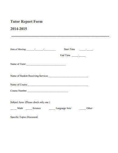 basic tutor report form sample