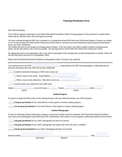 basic tutoring permission form