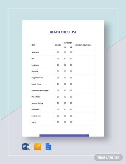 beach checklist template