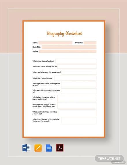 biography worksheet template