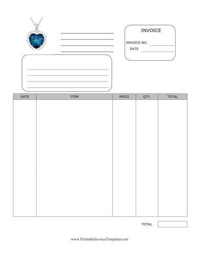 blank jewelry invoice template