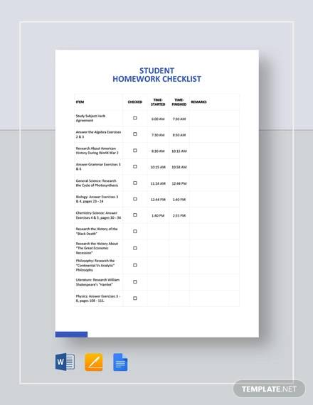 blank student checklist template