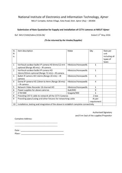cctv installation business quotation template