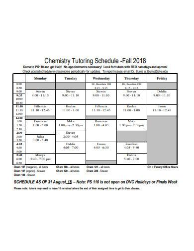 chemistry tutor schedule sample