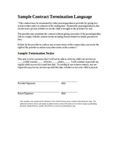 child care services contract termination sample