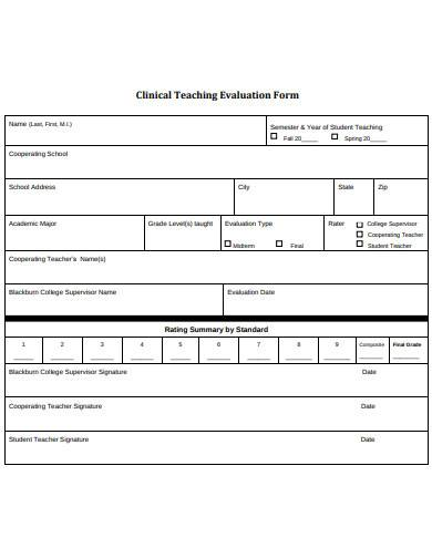 clinical teaching evaluation form