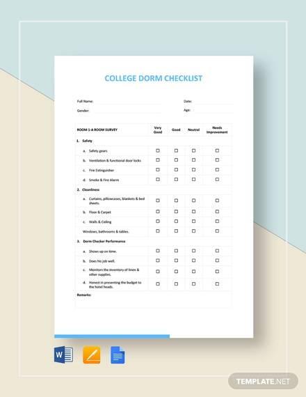 college dorm room checklist template