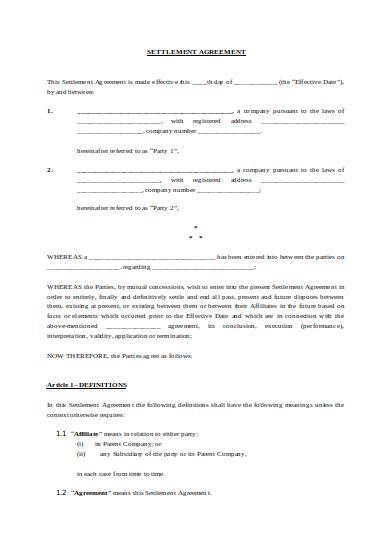 company settlement agreement sample template