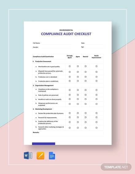compliance audit checklist template