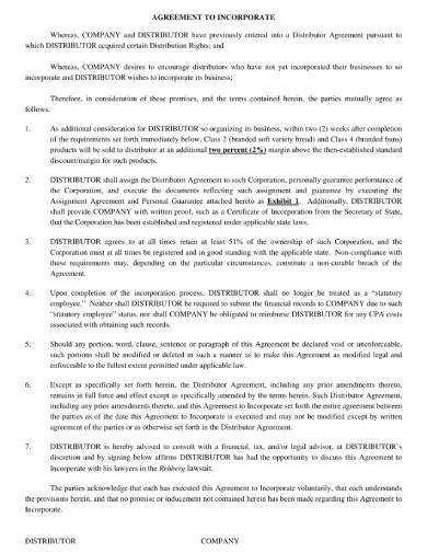 concise incorporation agreement sample