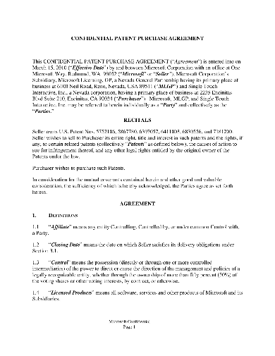 confidential patent purchase agreement
