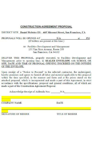 construction agreement proposal in ms word