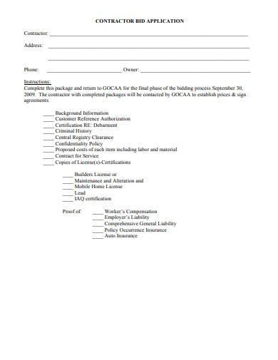 contractor bid application form sample