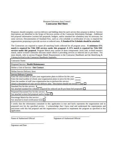 contractor bid sheet sample