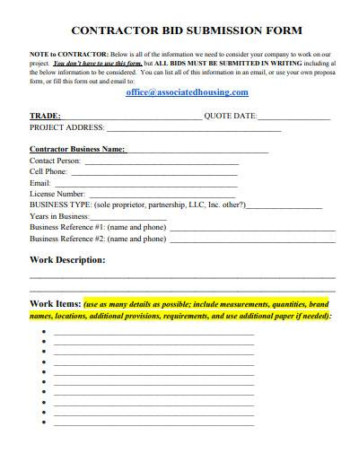 contractor bid submission form template