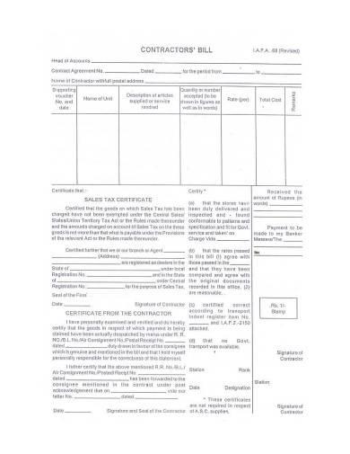 contractor bill template